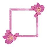 Rosa Rahmen verziert mit Blumen Lizenzfreies Stockbild