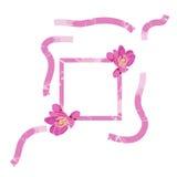 Rosa Rahmen verziert mit flowersPink Rahmen verziert mit den Blumen von BergeniaPink-Rahmen verziert mit Blumen von Lizenzfreie Stockfotografie