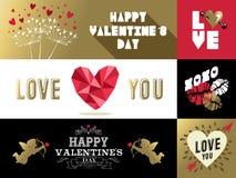 Rosa retro del oro de la bandera de la etiqueta del sistema de las tarjetas del día de San Valentín del santo libre illustration