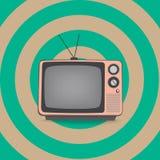 Rosa retro television Arkivfoton