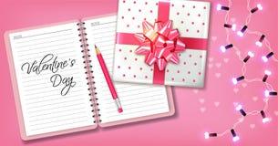 Rosa romantische Karte mit Geschenkbox und Girlande Vektor realistisch Feiern Sie Liebeskarte r lizenzfreie abbildung