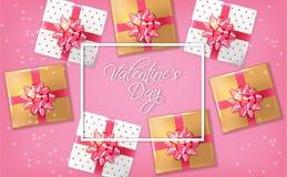 Rosa romantische Karte mit Geschenkboxen Vektor realistisch Feiern Sie Liebeskarte r vektor abbildung