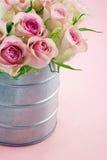 Rosa romantiska ro på pastell färgar bakgrund arkivfoto