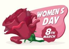 Rosa rosa con il messaggio di saluto per il giorno delle donne, illustrazione di vettore Immagine Stock