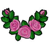 Rosa Rose Corner Embroidery Patch stock abbildung