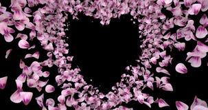 Rosa Rose Sakura Flower Petals In Heart-Form Alpha Matte Placeholder Loop 4k stock footage