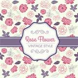 Rosa Rose und purpurroter Blattweinlesemustervektor entwerfen Lizenzfreie Stockfotografie