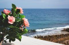 Rosa Rosen auf einem Balkon gegen einen Strandszenenhintergrund mit blauem Himmel lizenzfreies stockbild