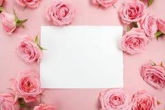 Rosa Rosen auf rosa Hintergrund mit Raum für Text Flache Lage, Draufsicht Stockbilder