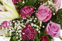 Rosa Rosen und Gartennelkenhintergrund Stockbild