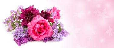 Rosa Rosen- und Statice-Blumen auf weißem Hintergrund Lizenzfreie Stockbilder