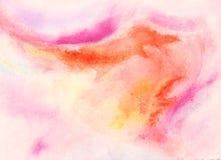 Rosa rosig orange blandning för vattenfärgbakgrund Royaltyfri Foto