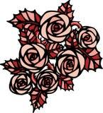 Rosa rosor i tatueringstil stock illustrationer