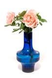 Rosa rosor med vatten tappar i blå vas på vit arkivbilder