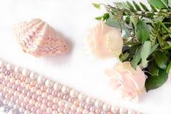 Rosa rosor och bokstav Royaltyfria Bilder