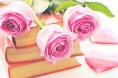 Rosa rosor på en bok Fotografering för Bildbyråer