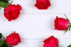 Rosa rosor på en vit trätabell Kopiera utrymme för text Mall för mars 8, mors dag, valentin dag Royaltyfri Bild
