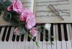 Rosa rosor på ett piano Fotografering för Bildbyråer
