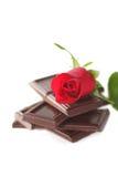 Rosa rossa con cioccolato Immagini Stock