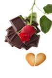 Rosa rossa con cuore rotto Immagine Stock