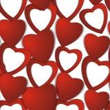 Rosa rossa Cuori di carta astratti Amore Priorità bassa del biglietto di S Fotografia Stock Libera da Diritti