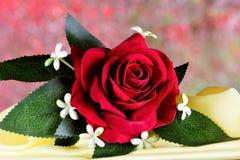 Rosa rossa di Boutonniere - il vestito degli uomini accessori della decorazione La tradizione di decorazione dei vestiti con i fi immagini stock libere da diritti