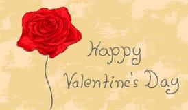 Rosa rossa di vettore sul desiderio del biglietto di S. Valentino del fondo di lerciume Fotografia Stock