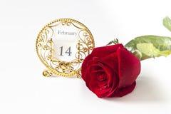 Rosa rossa e calendario Fotografia Stock