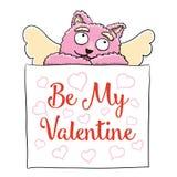 Rosa rossa Il gatto sveglio di rosa del cupido con è il mio Valentine Poster Immagine Stock Libera da Diritti