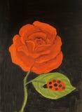 Rosa rossa, pittura a olio Fotografia Stock