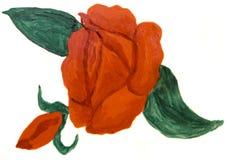 Rosa rossa, pittura a olio Immagini Stock