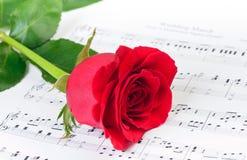 Rosa rossa sopra le note musicali di marzo di nozze Immagini Stock