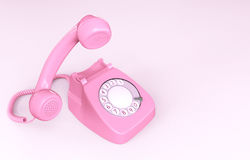 Rosa roterande telefon Royaltyfri Bild