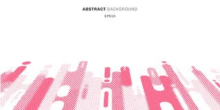 Rosa rundade formlinjer övergångsperspektivbakgrund för abstrakt rastrerad stil med kopieringsutrymme Prickar mönstrar modernt stock illustrationer