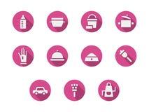 Rosa runde Ikonen der Hausarbeiten eingestellt Lizenzfreie Stockfotografie