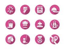 Rosa runde Ikonen der Haushaltung eingestellt Lizenzfreie Stockfotografie