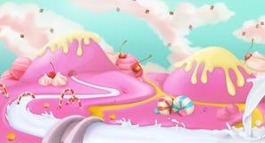 Rosa söt landskapbakgrund stock illustrationer