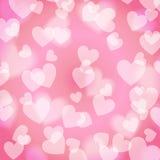 Rosa süßes Bokeh-Herz, Muster, Lizenzfreie Stockfotografie