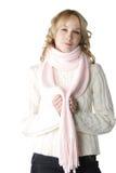 rosa scarfkvinna Royaltyfri Bild