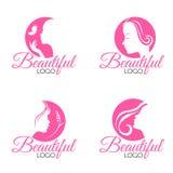 Rosa schönes Gesichtsdamenfrauenlogo-Vektorbühnenbild Stockbilder