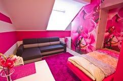 Rosa Schlafzimmer Stockbild