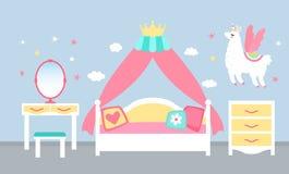 Rosa Schlafzimmerinnenraum für ein Prinzessinmädchen mit einem Himmelbett und einer Krone Flache Vektorillustration vektor abbildung