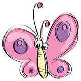 Rosa Schmetterling der Karikatur mit lustigem Gesicht als naivem Kinderzeichnen Stockfotografie
