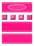 Rosa Schneeflocken-Fahne und Knopf-Satz Stockfotografie