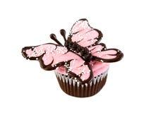 Rosa Schokoladen-Schmetterlings-kleiner Kuchen Stockbilder