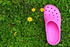 Rosa Schuhe auf Gras - im Garten Lizenzfreie Stockbilder