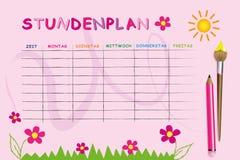 Rosa Schulzeitplanschablone mit Blumen vektor abbildung