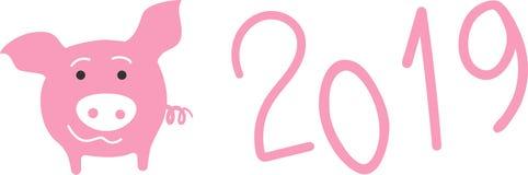 Rosa Schwein und 2019 Zahlen, Vektorelemente des neuen Jahres vektor abbildung