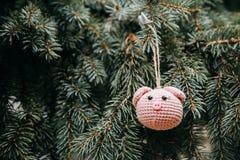 Rosa Schweinkopf der Häkelarbeit auf dem Weihnachtsbaum lizenzfreies stockfoto