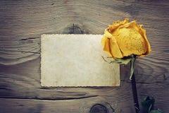 Rosa seca del amarillo y nota en blanco Imágenes de archivo libres de regalías